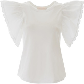See by Chloe T-SHIRT WITH BUTTERFLY SLEEVES L White Cotton