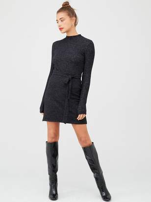 Very High Neck Belted Snit Dress - Black