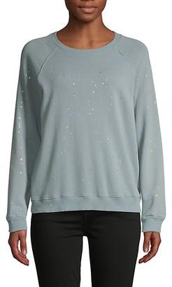 Monrow Splatter-Print Cotton Sweater