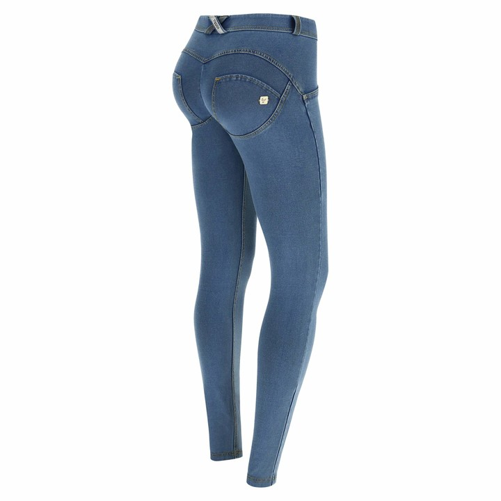 Freddy WR.UP Regular-Rise Skinny-fit Trousers in Light Denim - Clear Jeans-Yellow Seams - Large