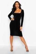 boohoo Velvet Square Neck Long Sleeve Midi Dress
