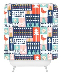 Deny Designs Heather Dutton Christmas Collage Chill Shower Curtain Bedding