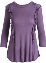 Celeste Lilac Ruffle-Accent Three-Quarter Sleeve Top