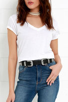 LuLu*s Sweet Melody Black and Silver Double Buckle Belt