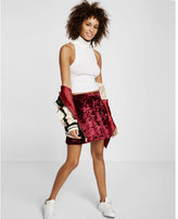 Express crushed velvet skater skirt