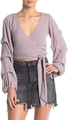 4SI3NNA the Label Layered Blouson Sleeve Wrap Top