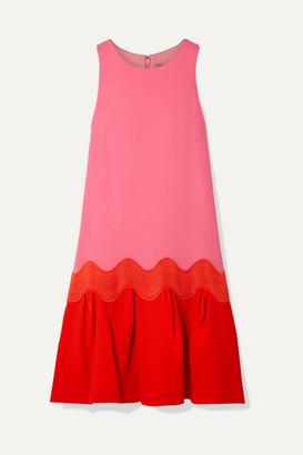 Lela Rose Rickrack-trimmed Two-tone Wool-blend Crepe Dress - Pink