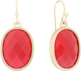 Liz Claiborne Oval Drop On Wire Coral & Gold-Tone Earrings