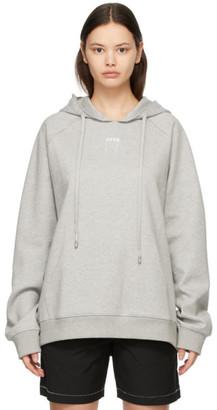 Ader Error Grey Embroidered Logo Hoodie
