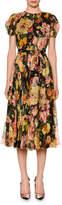 Dolce & Gabbana Puffed-Sleeve Belted Floral-Chiffon Midi Dress