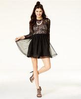 Sequin Hearts Juniors' Glitter Illusion Dress