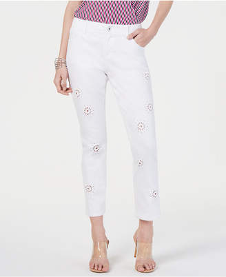 INC International Concepts Inc Eyelet Cropped Boyfriend Jeans