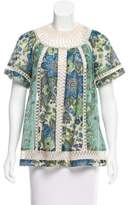Zimmermann Crochet-Trimmed Floral Print Top