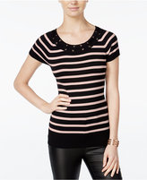 Amy Byer Juniors' Striped Lace-up Top