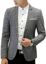Heavyoff Men's Flax One Button Slim Fit Casual Blazer Jacket