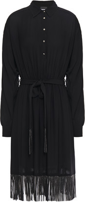 Just Cavalli Crystal-embellished Fringed Crepe Shirt Dress