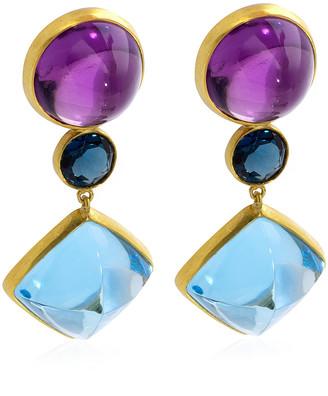 Bahina Amethyst, Topaz 18K Yellow Gold Earrings