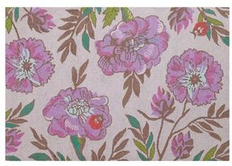 Vera Bradley Lavender Botanical Hand-Hooked Wool Pink Area Rug