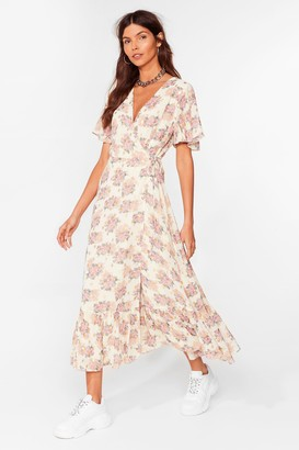 Nasty Gal Womens Summer Days Floral Wrap Midi Dress - Cream