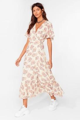 Nasty Gal Womens Summer Days Floral Wrap Midi Dress - White - 4, White
