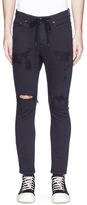 ATTACHMENT Drawstring ripped skinny denim pants