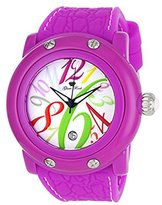 Glam Rock Women's GR25002 Crazy Sexy Cool White Dial with Multi-Colored Numerals Purple Silicone Watch