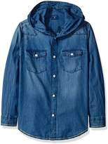 GUESS Big Boys' Hooded Denim Shirt with Applique and Embroidery