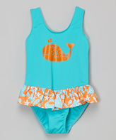 Flap Happy Tangerine Tide Serena Contrast Swimsuit - Infant & Girls
