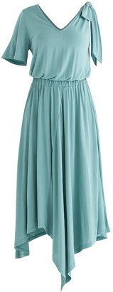 Paisie Margate Asymmetric Dress In Teal