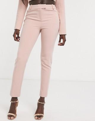 Morgan satin trim cigarette pant in dusty pink