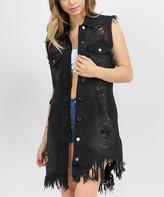 American Bazi Women's Outerwear Vests BLACK - Black Heavily-Distressed Back Denim Long Vest - Women & Plus