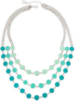 Liz Claiborne Blue Bead Silver-Tone 3-Row Statement Necklace