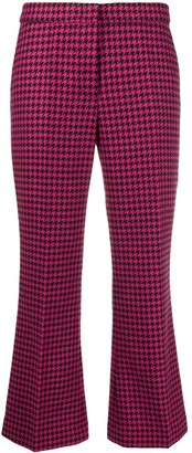 Semi-Couture Cropped Kick-Flare Houndstooth Trousers