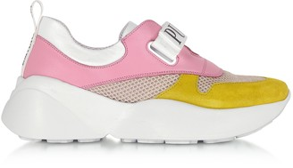 Emilio Pucci Pink & Lime Green Leather and Nylon Sneakers