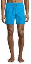 Vilebrequin Moorea Flocked-Turtle Swim Trunks, Turquoise