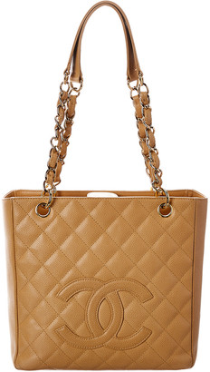 Chanel Beige Quilted Caviar Leather Petit Shopping Tote