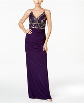 Adrianna Papell Ruched Beaded-Bodice Column Gown