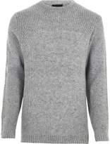 River Island Mens Grey mixed texture knit crew neck jumper