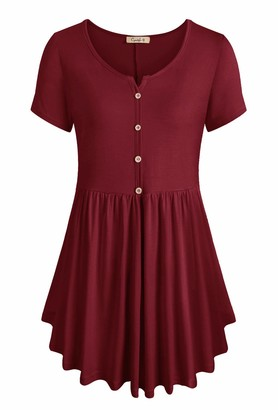 Cyanstyle Button Up Shirts for Women Ladies Short Sleeve Notch V Neck Shirts Gentle Cotton Smooth Texture Flowy Garment Graceful Juniors Petite Tunics for Work Office Burgundy X-Large