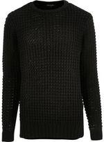 River Island MensBlack chunky waffle sweater
