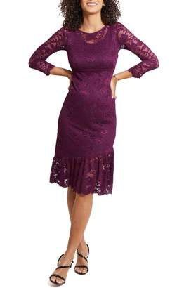 Ingrid & Isabel Flounce Hem Lace Maternity Dress