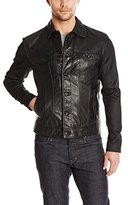 John Varvatos Men's Denim Style Leather Jacket