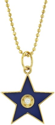 Andrea Fohrman Blue French Enamel Star Yellow Gold Necklace