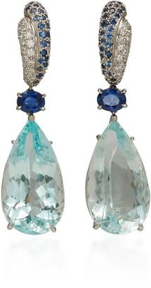 Gioia Bini 18K White Gold, Aquamarine And Sapphire Earrings
