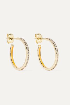 Alison Lou Linear 14-karat Gold, Enamel And Diamond Hoop Earrings - one size