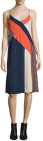 Diane von Furstenberg Frederica Sleeveless Colorblock Slip Dress, Rickrack Khaki/Orange/Midnight