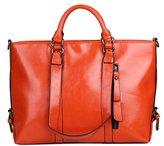 ELIM&PAUL Women's Vintage Handbag Genuine Leather Shoulder Bag Tote Bags Satchel Large Cross Body Purse