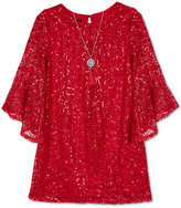 Amy Byer Sequin Lace A-Line Dress & Necklace Set, Big Girls (7-16)