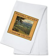 Foothill Oranges Brand - Sierra Madre, California - Citrus Crate Label (100% Cotton Absorbent Kitchen Towel)