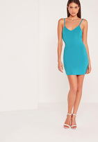 Missguided Plunge Strappy Low Back Bodycon Dress Blue